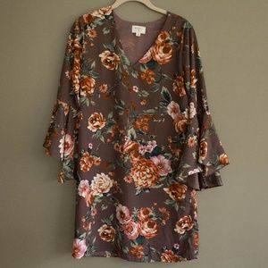Purple Floral Sheath Dress w/ Bell Sleeves